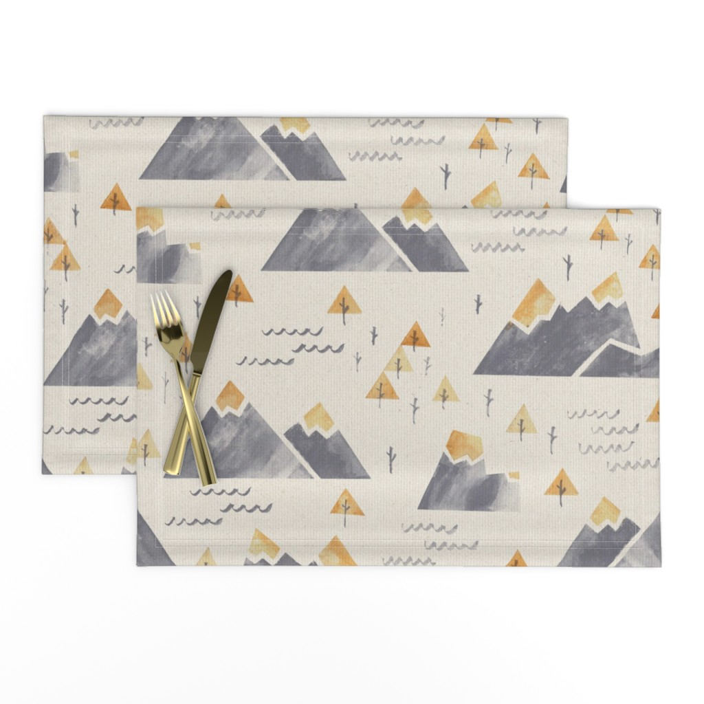Lamona Cloth Placemats featuring Gold-Tipped Watercolor Mountains by papercanoefabricshop