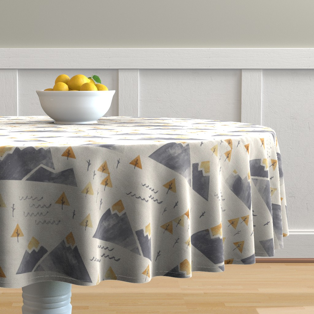 Malay Round Tablecloth featuring Gold-Tipped Watercolor Mountains by papercanoefabricshop