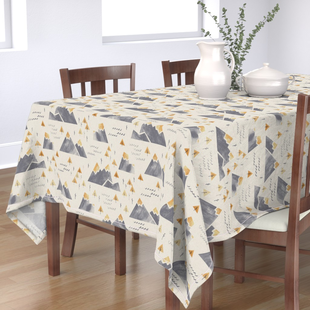Bantam Rectangular Tablecloth featuring Gold-Tipped Watercolor Mountains by papercanoefabricshop