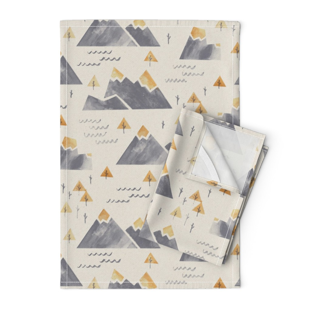 Orpington Tea Towels featuring Gold-Tipped Watercolor Mountains by papercanoefabricshop