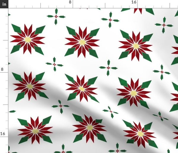 Fill A Yard Christmas Poinsettia Quilt B Spoonflower