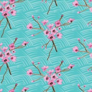 16-08k Cherry Blossom Watercolor on turquoise_Miss Chiff Designs