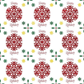 Fill a Yard Christmas Snowflakes Quilt Block 6in Red Green Gold