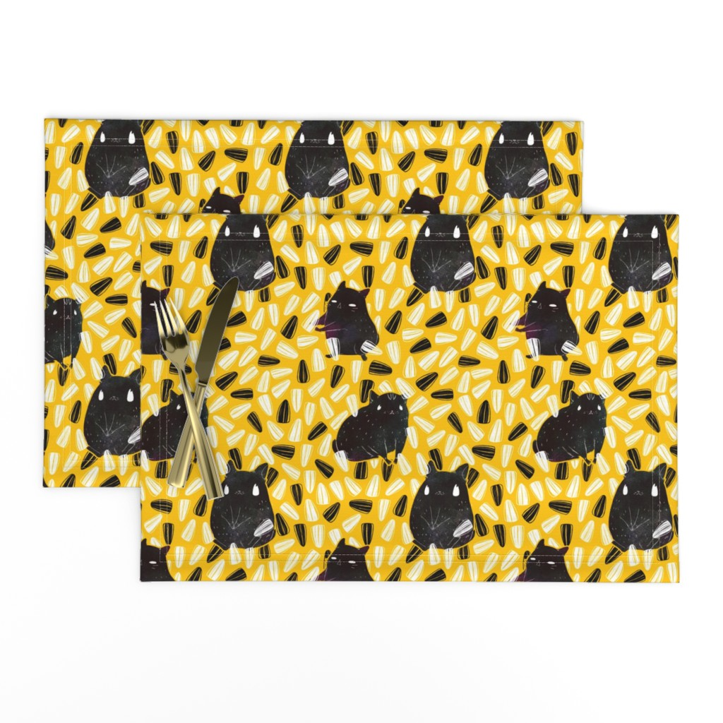 Lamona Cloth Placemats featuring Seedy Hamsters by miranema