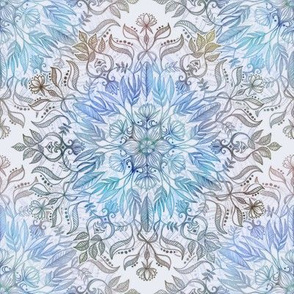 Feather and Flower Medallion in soft lilac and blue