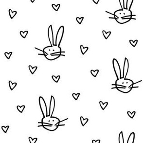Easter Bunny with little Hearts in black white
