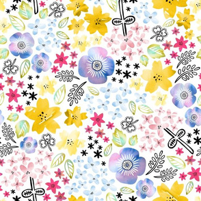 Color Me Flowers on White