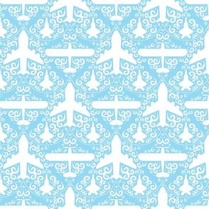 Aircraft Damask (Blue)