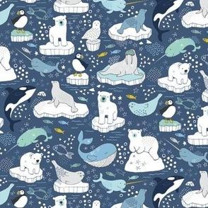 Arctic Animal Icebergs - blue and mustard  - Medium-Small