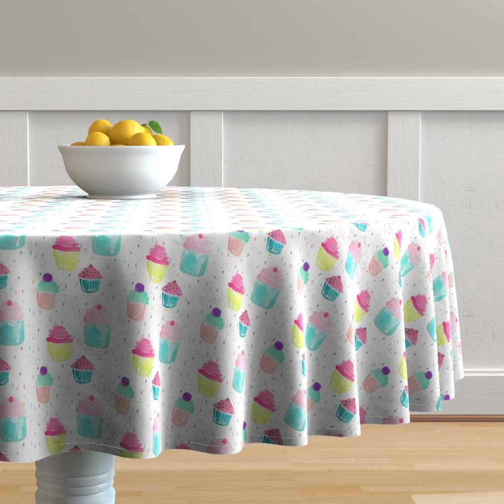 Malay Round Tablecloth featuring Indy Bloom Design Birthday Sprinkles by indybloomdesign