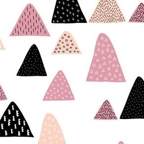 Abstract geometric triangle mountain peak winter Scandinavian style pink