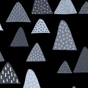Abstract geometric triangle mountain peak winter Scandinavian style night blue