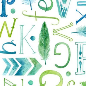 Watercolour Alphabet with Feathers - large scale