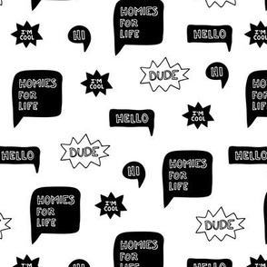 Cool black and white comic cartoon speaker balloon text hello dude