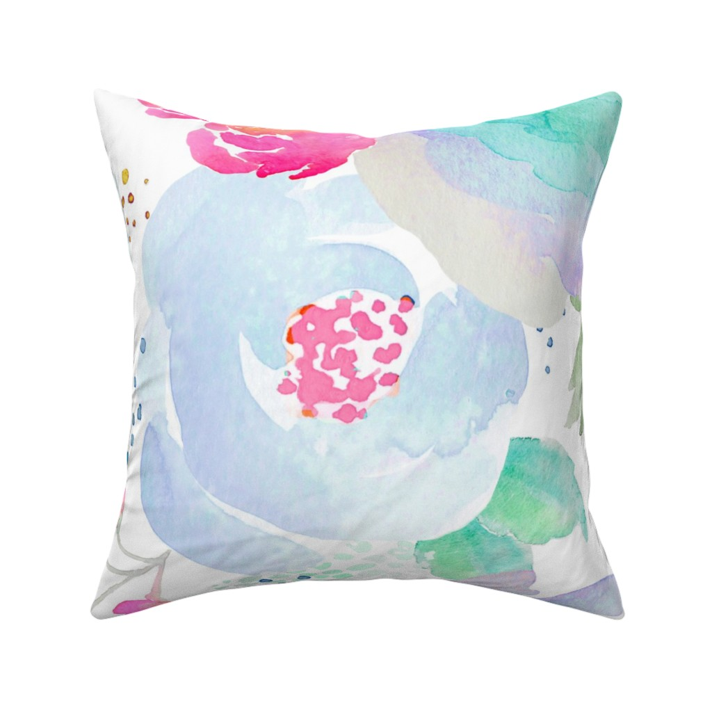 Catalan Throw Pillow featuring Indy Bloom Design Floral blues  by indybloomdesign