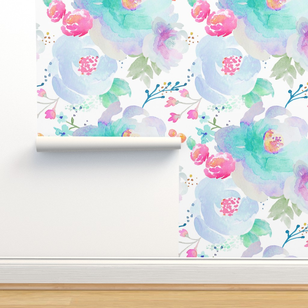Isobar Durable Wallpaper featuring Indy Bloom Design Floral blues  by indybloomdesign