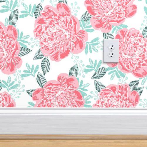 Wallpaper Peonies Girls Watercolor Sweet Florals Pink Green Girly Vintage Flowers Spring Adorable Girls Design