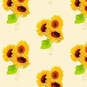 Watercolour Vase of Sunflowers