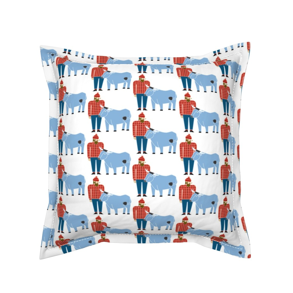 Serama Throw Pillow featuring Paul Bunyan & Babe by cindylindgren