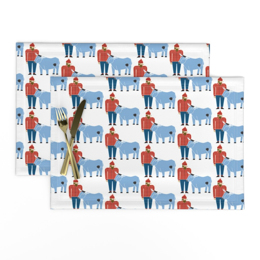 Lamona Cloth Placemats featuring Paul Bunyan & Babe by cindylindgren