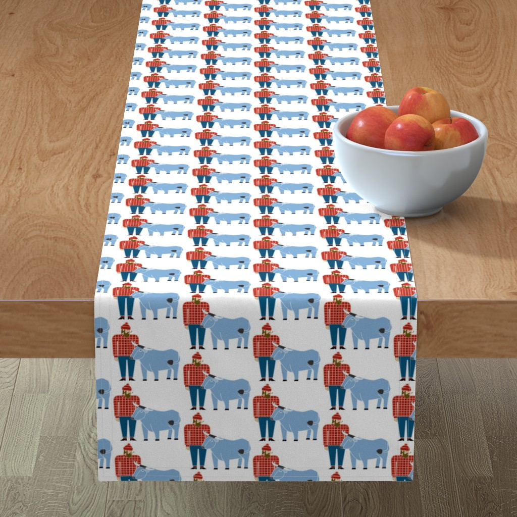 Minorca Table Runner featuring Paul Bunyan & Babe by cindylindgren