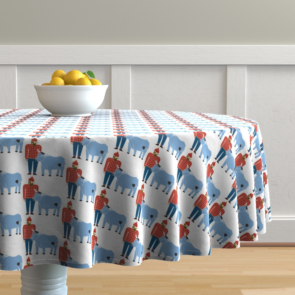 Malay Round Tablecloth featuring Paul Bunyan & Babe by cindylindgren