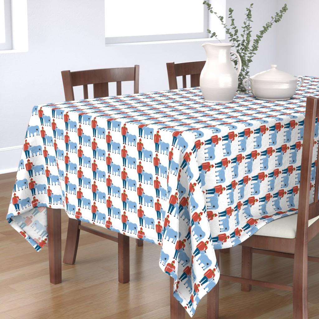 Bantam Rectangular Tablecloth featuring Paul Bunyan & Babe by cindylindgren