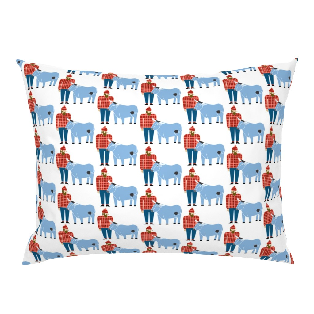 Campine Pillow Sham featuring Paul Bunyan & Babe by cindylindgren