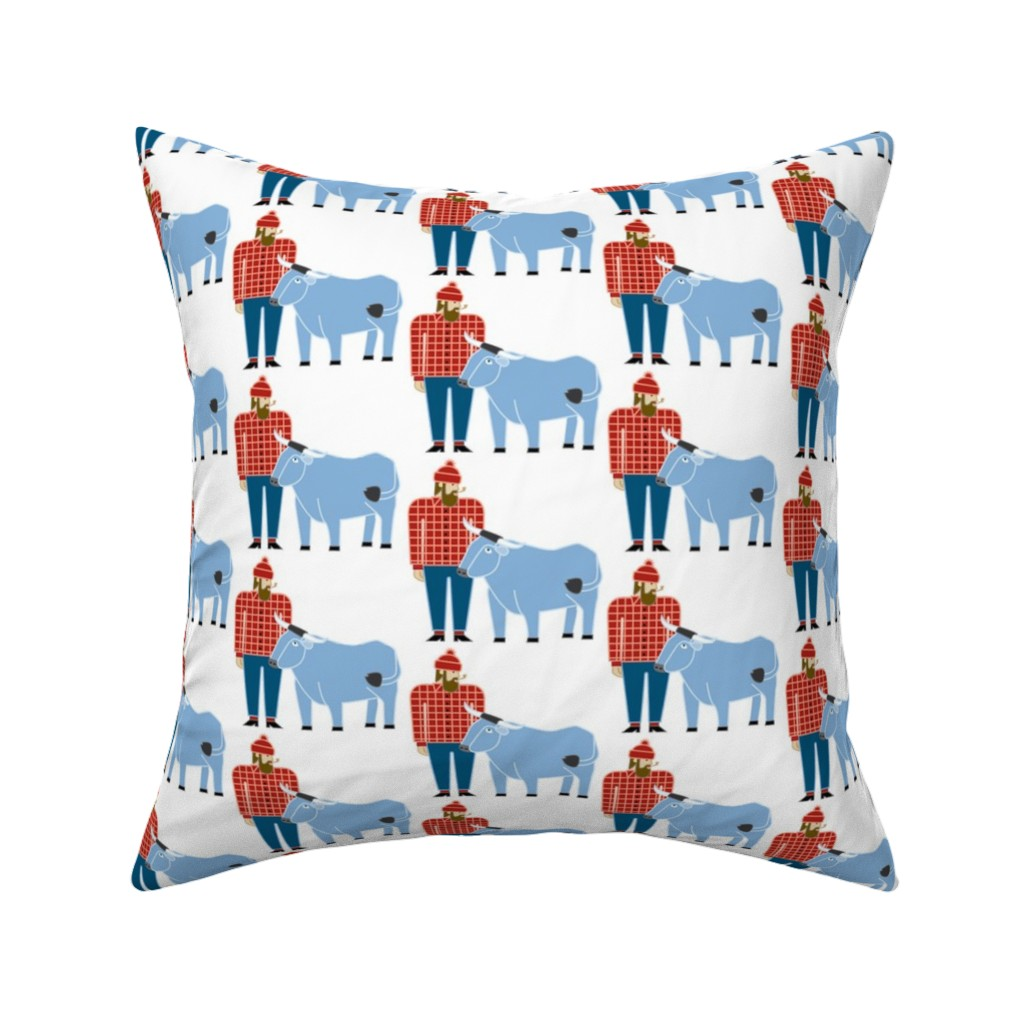 Catalan Throw Pillow featuring Paul Bunyan & Babe by cindylindgren