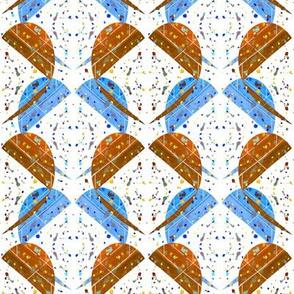 Watercolor Hearts Orange Over Blue
