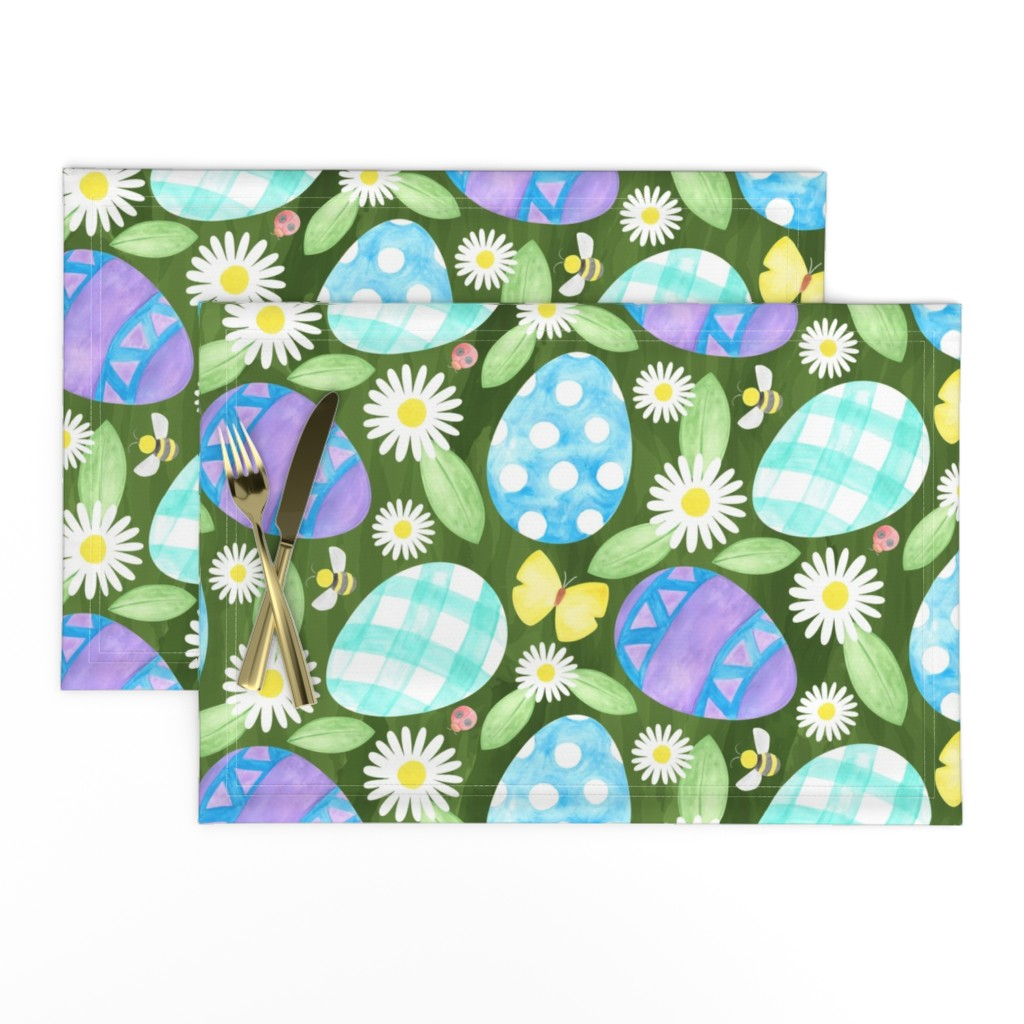 Lamona Cloth Placemats featuring Watercolor Easter Eggs by mia_valdez