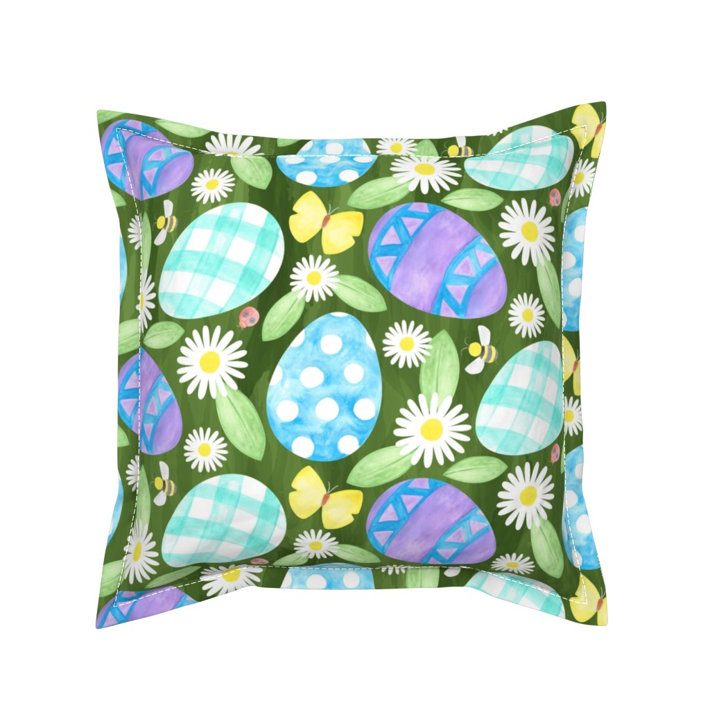 Serama Throw Pillow featuring Watercolor Easter Eggs by mia_valdez