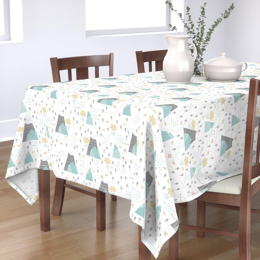 Bantam Rectangular Tablecloth featuring Mountain Adventure - White by papercanoefabricshop