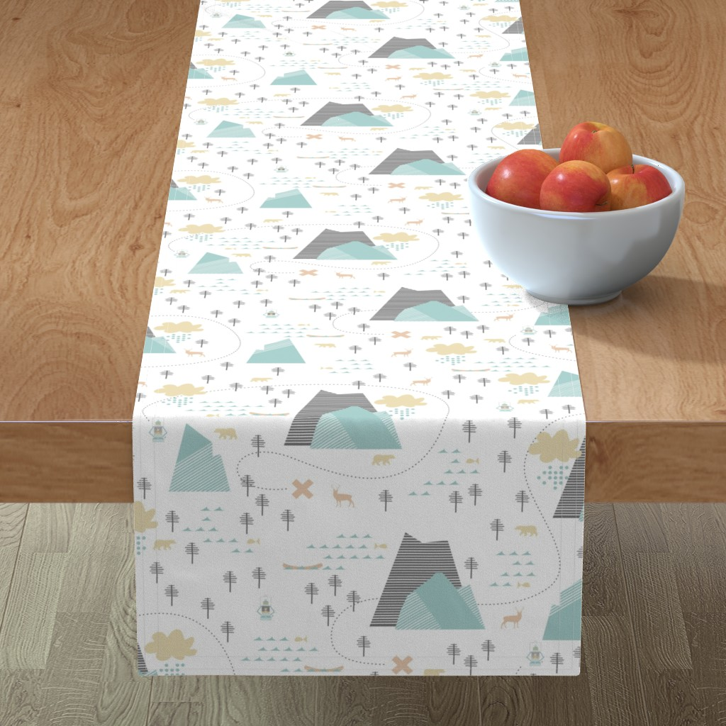 Minorca Table Runner featuring Mountain Adventure - White by papercanoefabricshop