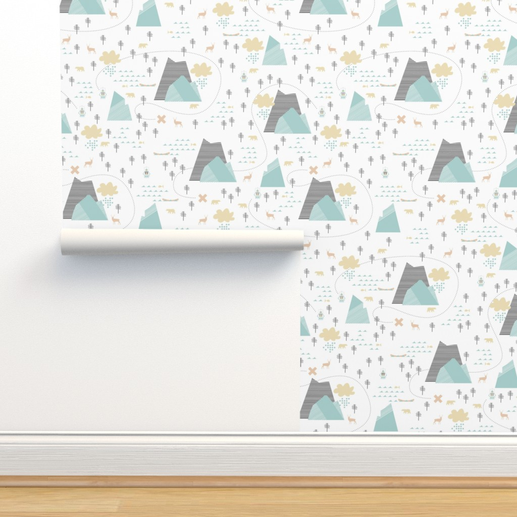 Isobar Durable Wallpaper featuring Mountain Adventure - White by papercanoefabricshop