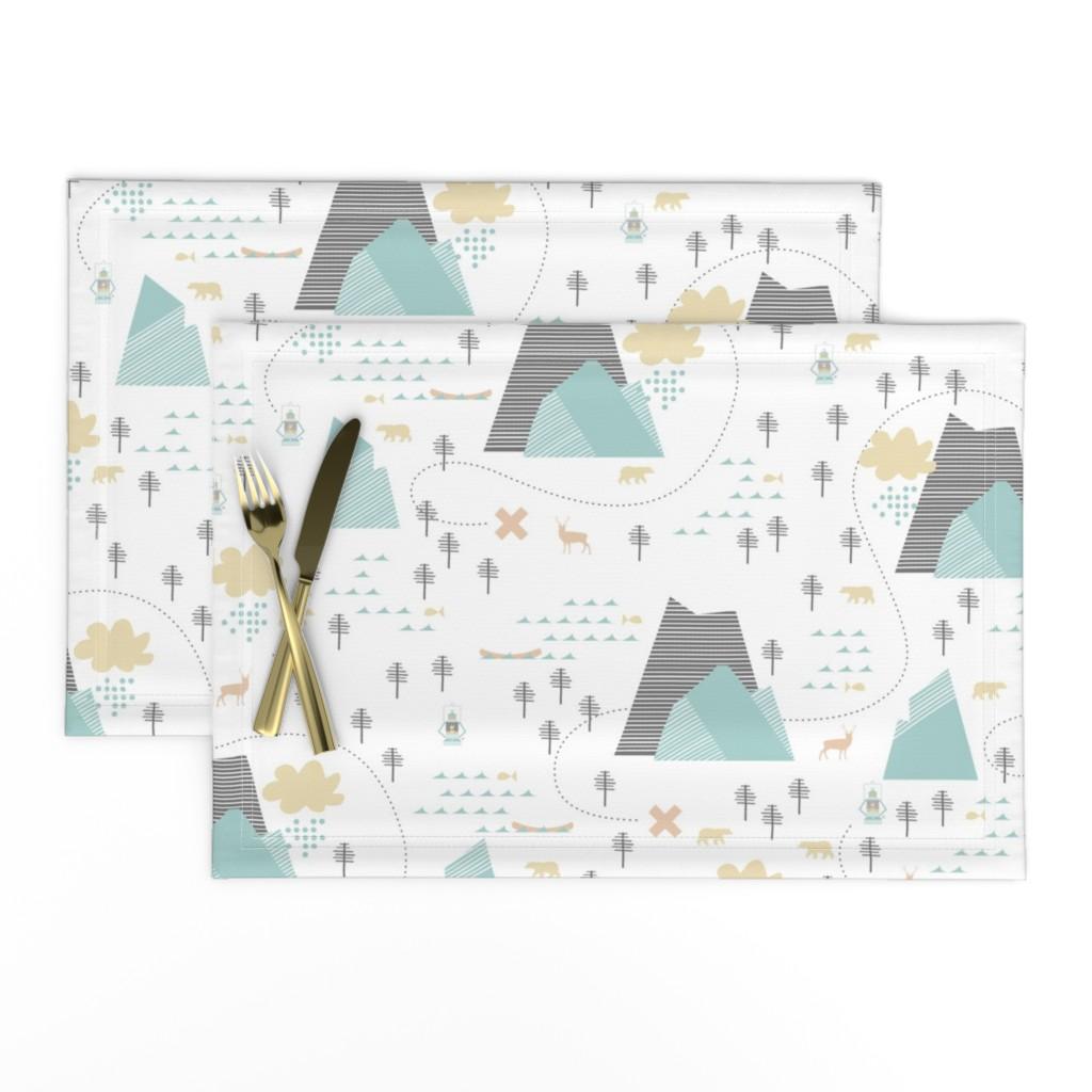 Lamona Cloth Placemats featuring Mountain Adventure - White by papercanoefabricshop