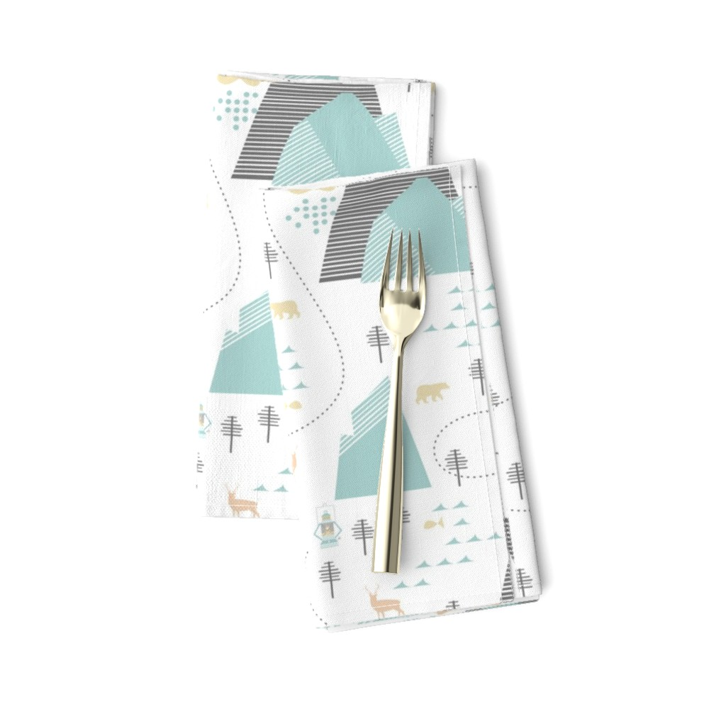Amarela Dinner Napkins featuring Mountain Adventure - White by papercanoefabricshop