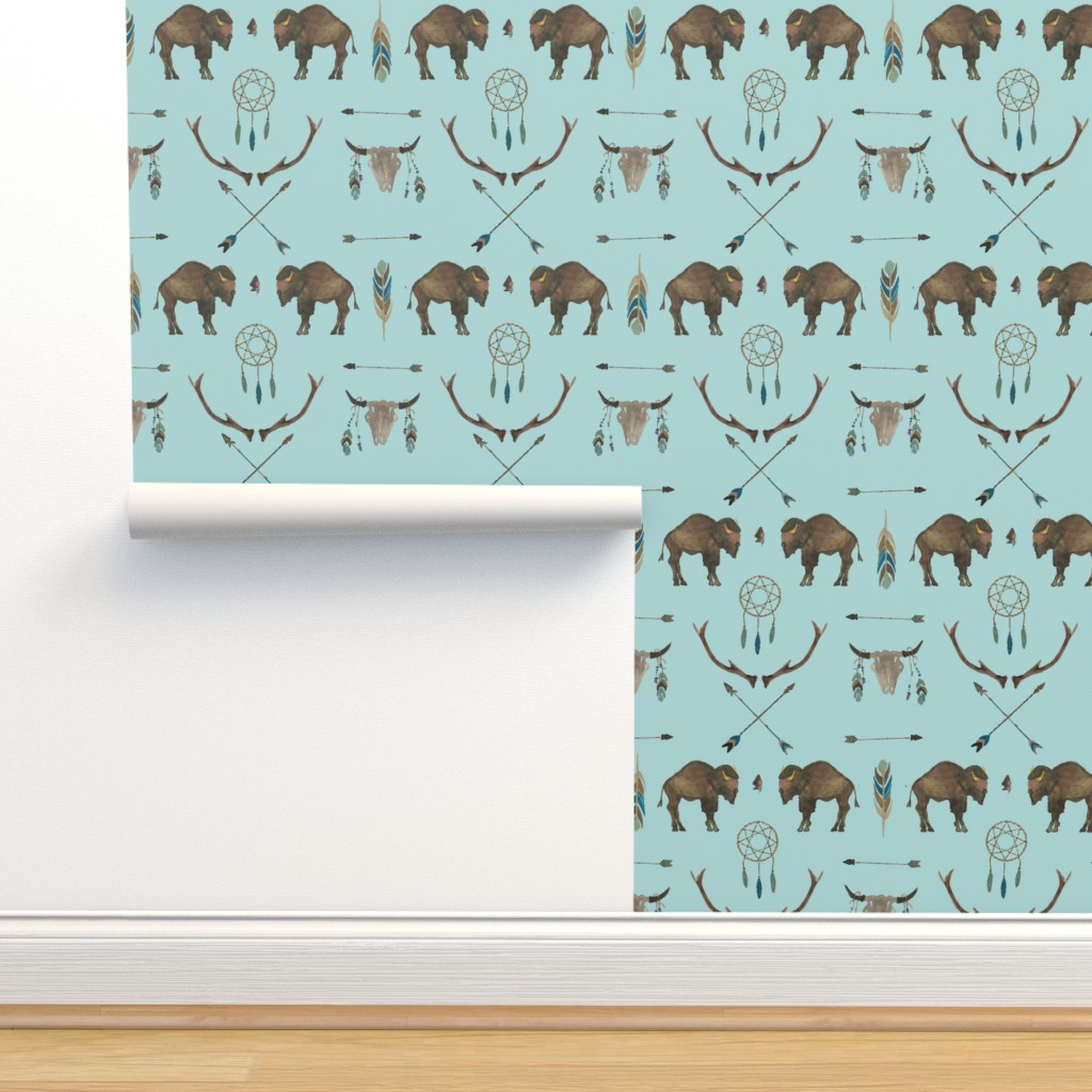Isobar Durable Wallpaper featuring Blue Sky Buffalo by paper_and_frill