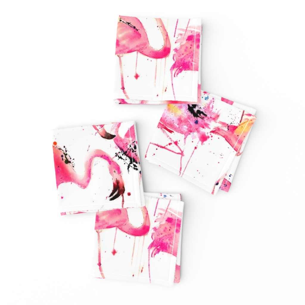 Frizzle Cocktail Napkins featuring flamingos making a splash by karismithdesigns
