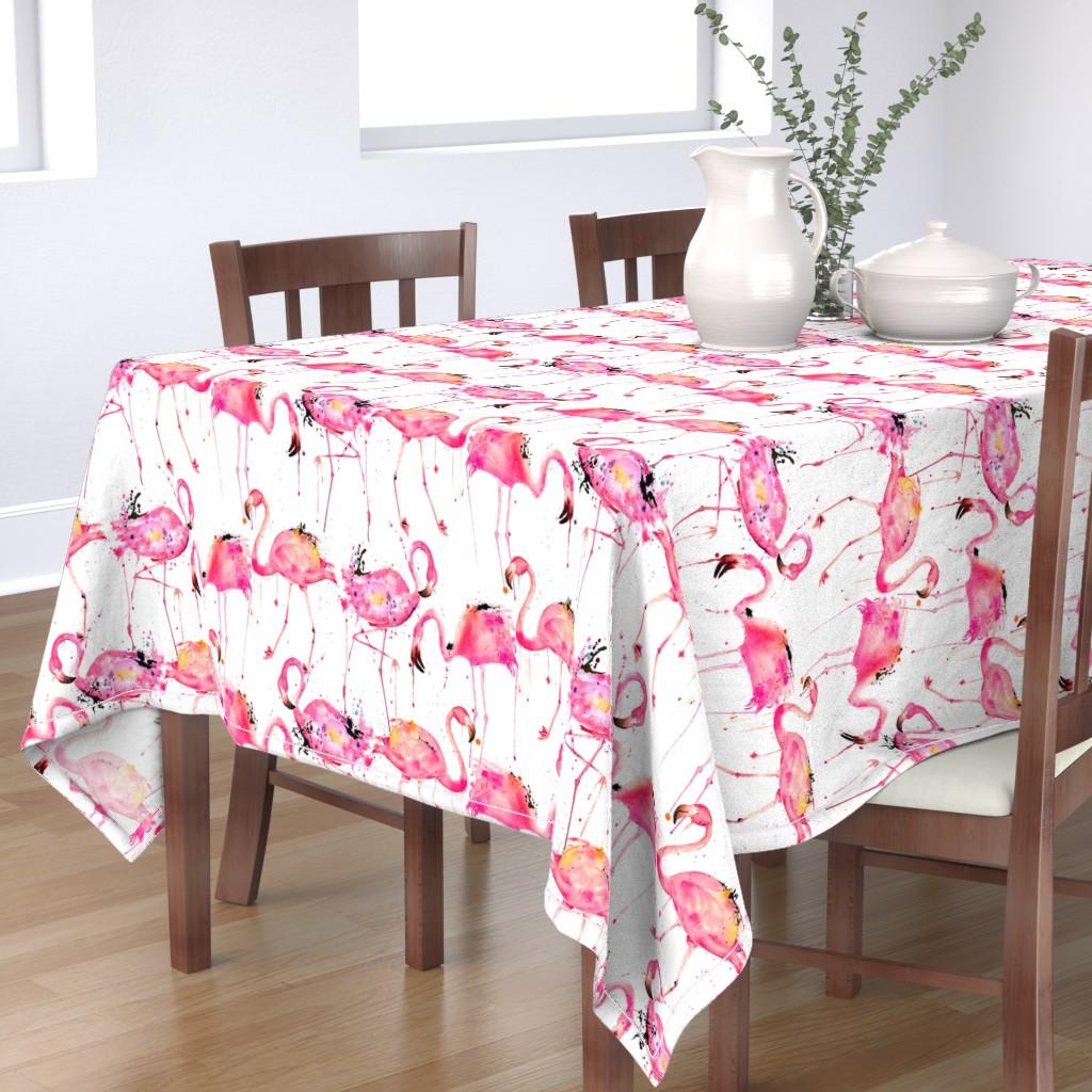 Bantam Rectangular Tablecloth featuring flamingos making a splash by karismithdesigns