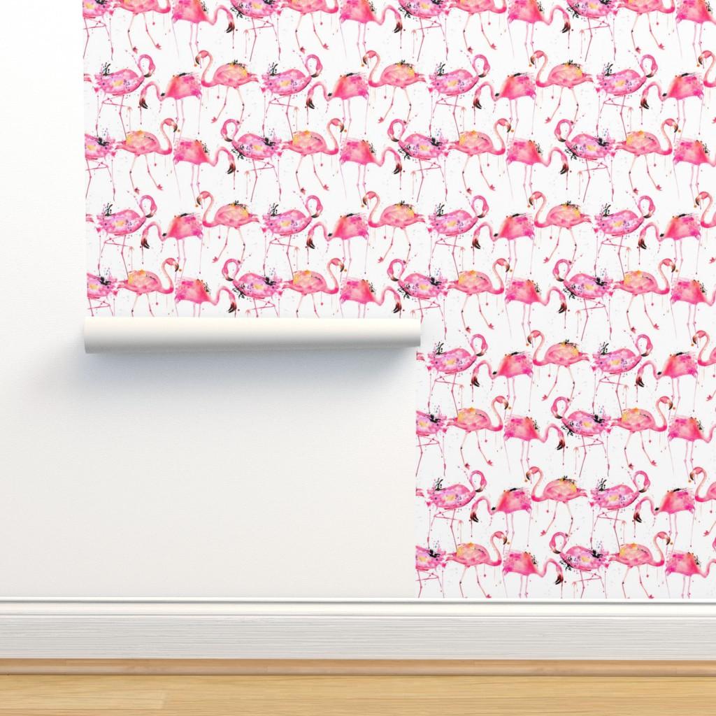 Isobar Durable Wallpaper featuring flamingos making a splash by karismithdesigns