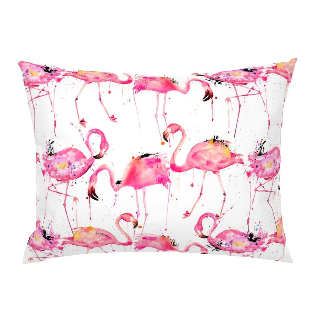 Campine Pillow Sham featuring flamingos making a splash by karismithdesigns
