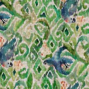 Ikat Parrot  Emerald