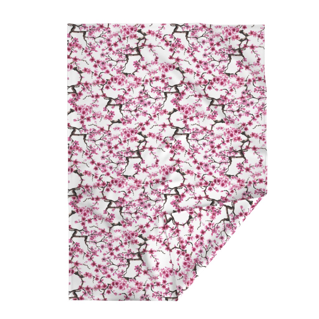 Lakenvelder Throw Blanket featuring Sakura Branches by sveta_aho
