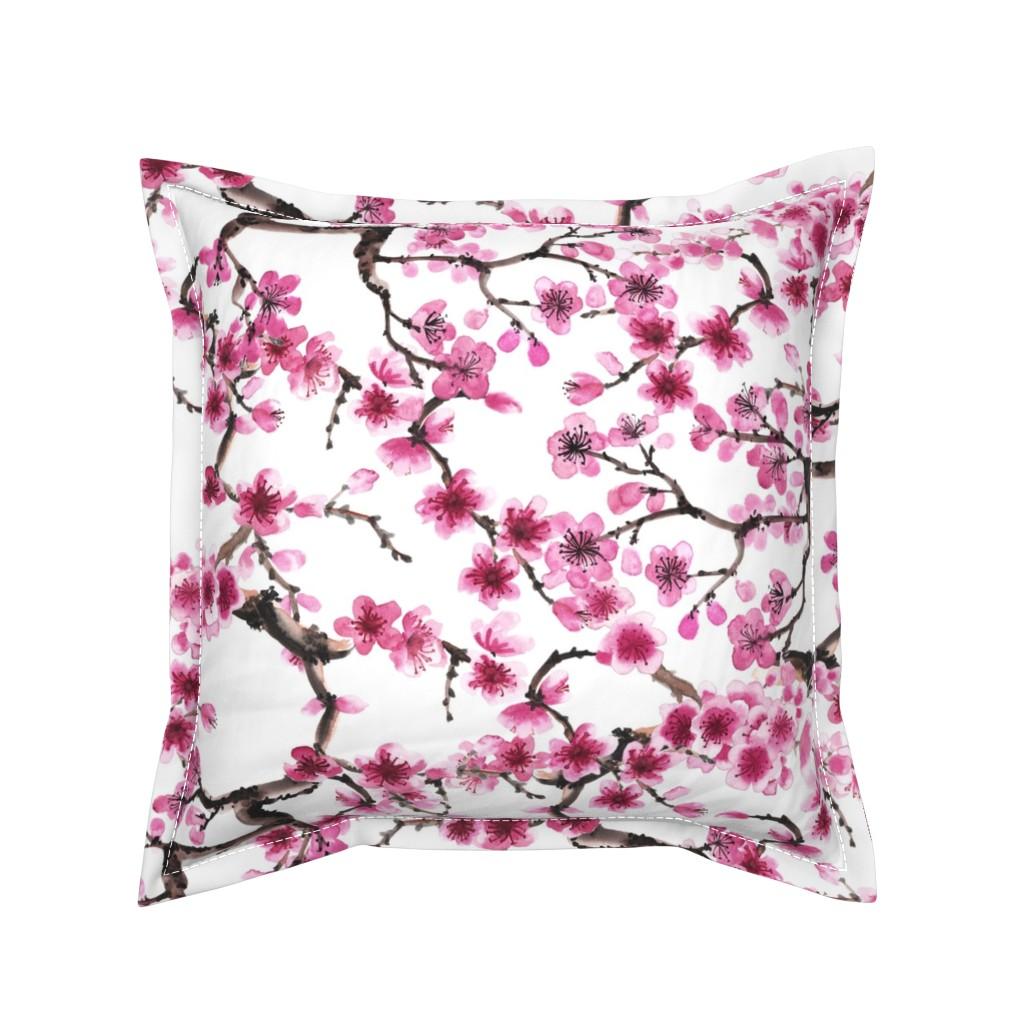 Serama Throw Pillow featuring Sakura Branches by sveta_aho