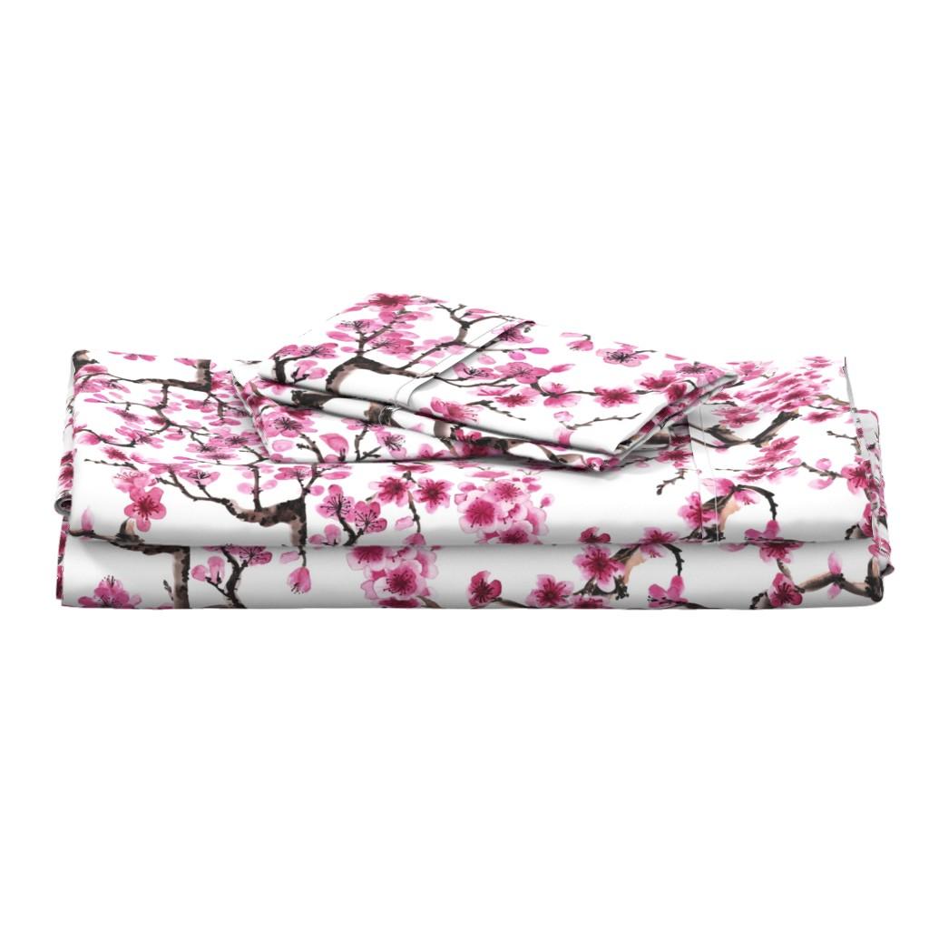 Langshan Full Bed Set featuring Sakura Branches by sveta_aho