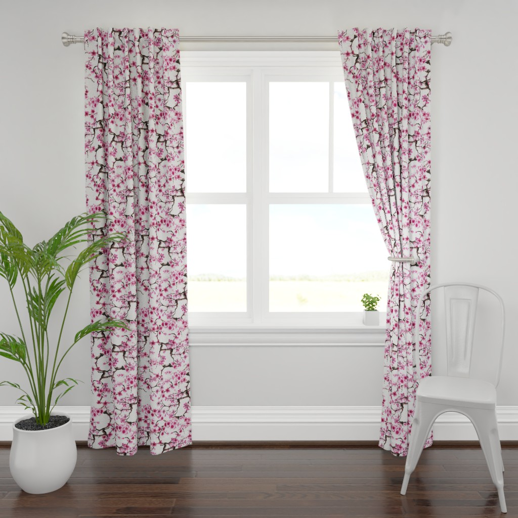 Plymouth Curtain Panel featuring Sakura Branches by sveta_aho