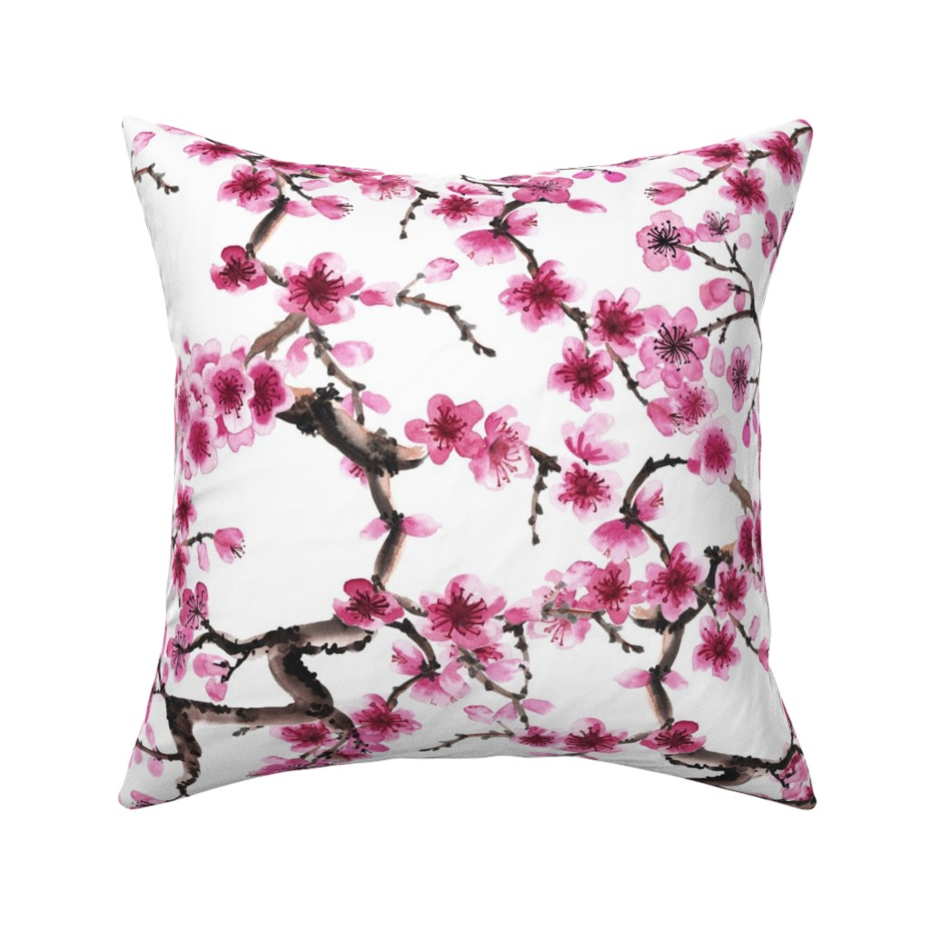 Catalan Throw Pillow featuring Sakura Branches by sveta_aho