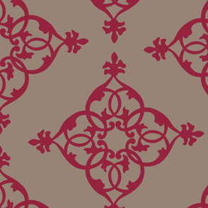 16-18N Love Hearts Taupe Fall Red Cranberry Diamond Garnet Home Decor_Miss Chiff Designs