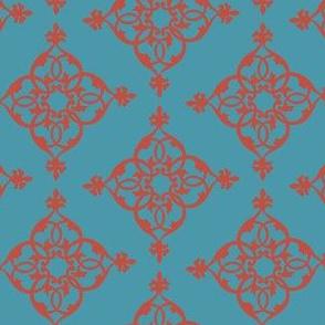 16-18L Turquoise Blue Burnt Orange Diamond Filagree_Miss Chiff Designs